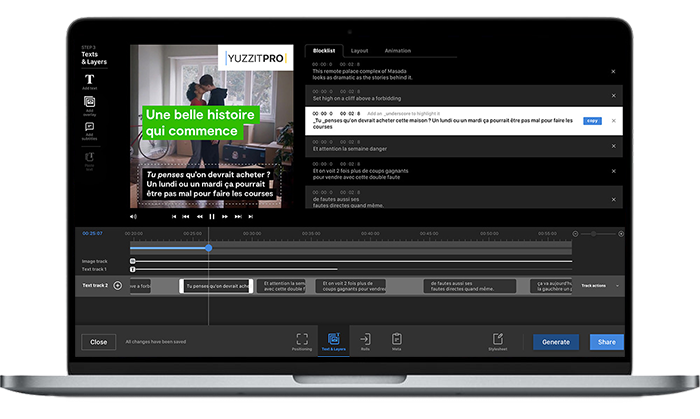 YuzzitPro has implemented an automatic multilingual speech-to-text solution allowing to generate both open and closed captions.
