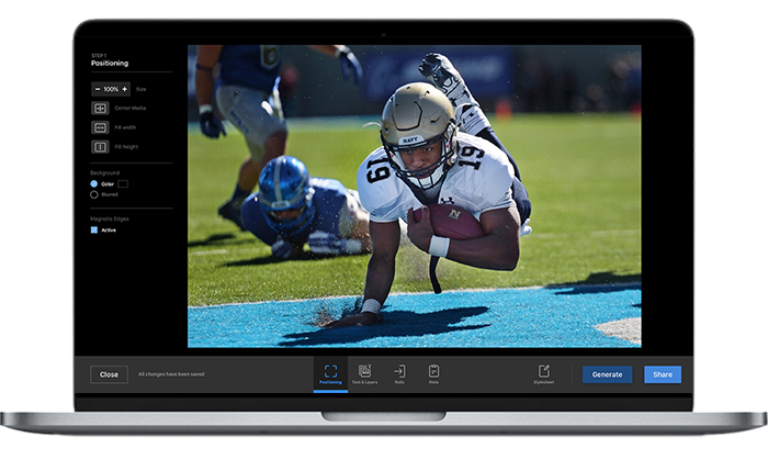 Give more impact to your sports events communication by sharing video automatically extracted by our automatic clipping feature.